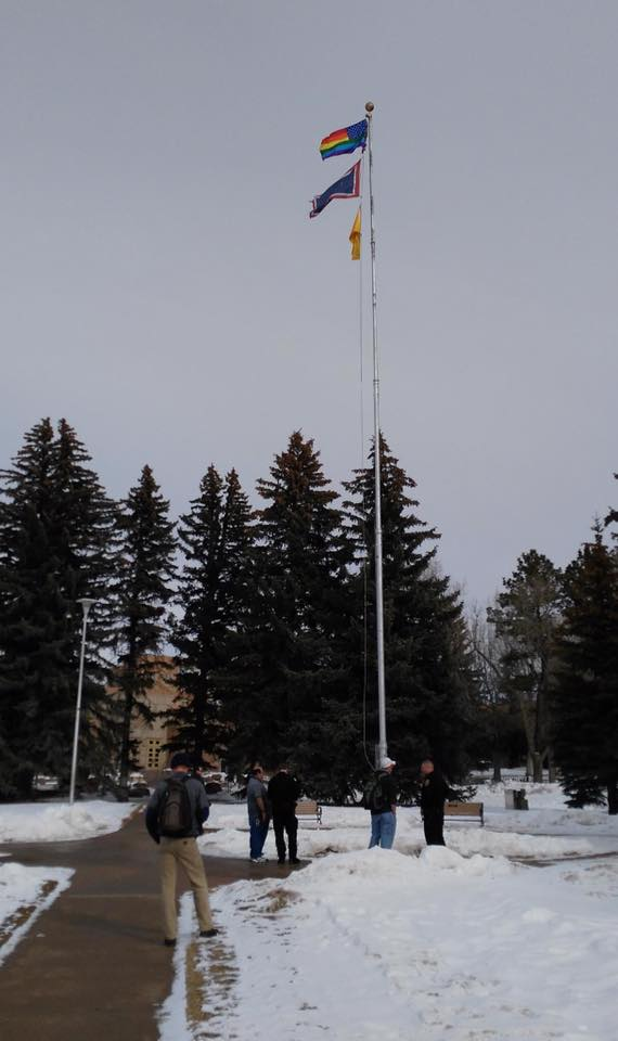 Some wily hooligan ran a gay pride flag up the pole at the University of Wyoming shortly after HB-135 was introduced. S/he has yet to be apprehended.