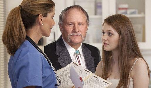 Don't be alarmed, young lady. That's just Sen. Larry Hicks in the clinic with you and your physician.