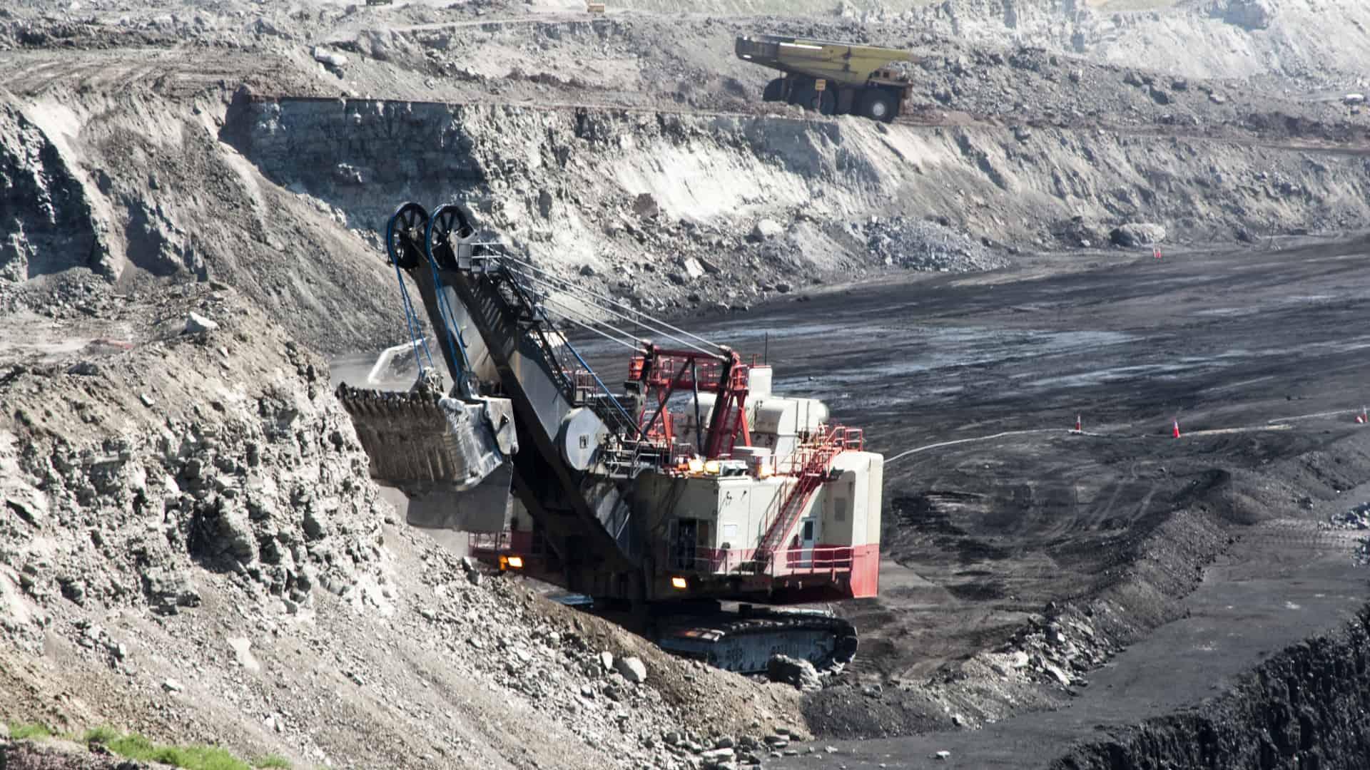 Bulldozer digging in a coal mine
